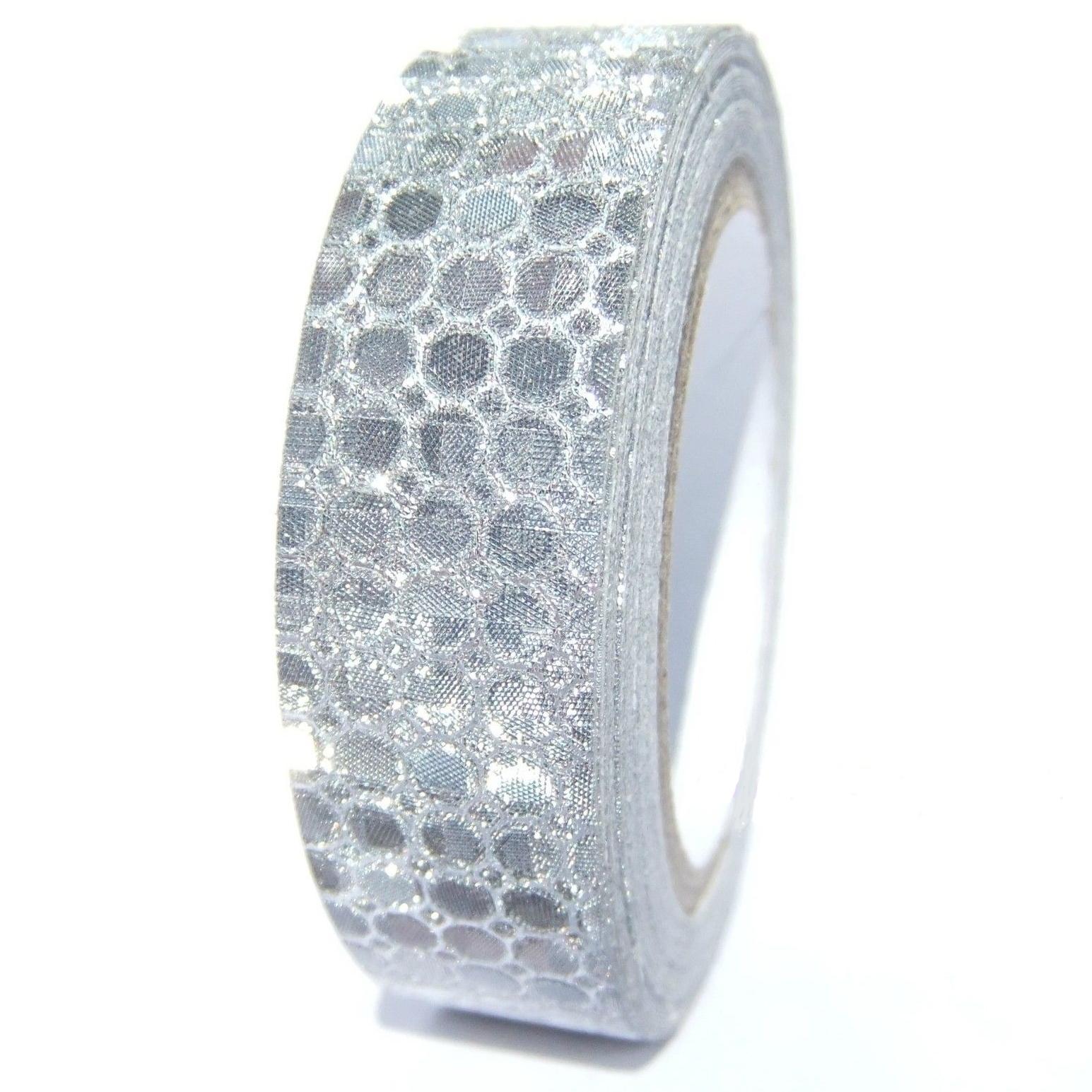 fabric tape gris argente paillette ruban tissu adhésif
