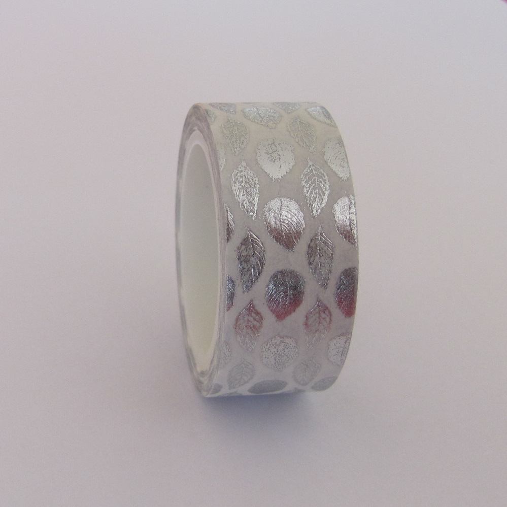 Masking tape blanc feuilles argentées
