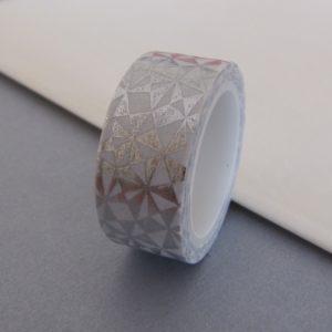 Masking tape blanc argenté motifs géométriques
