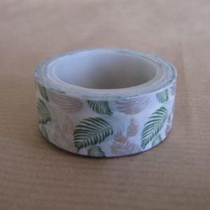 Masking tape blanc vert argent motifs feuilles
