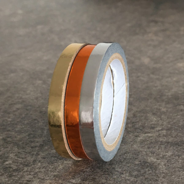 washi tape brillant argent doré orange